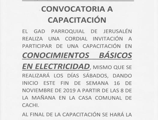 CORDIAL INVITACION A LOS MORADORES DE CACHI A LA CAPACITACIÓN DE CONOCIMIENTO BASICOS EN ELECTRICIDAD.